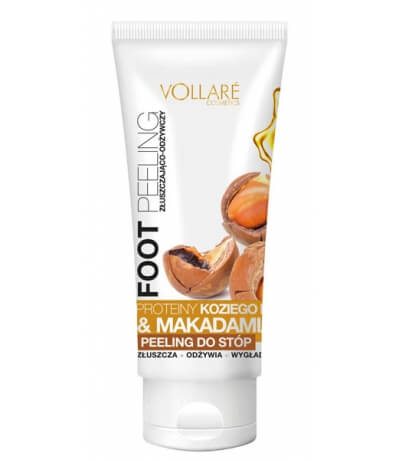 EXFOLIATING AND NOURISHING FOOT PEELING WITH PROTEINS OF GOAT'S MILK AND PARTICLES OF MACADAMIA NUTS VOLLARE